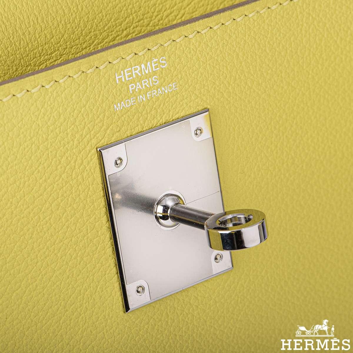 Hermès Kelly II Retourne 28cm Lime Evercolour PHW Handbag